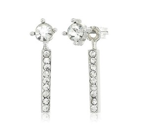 Rebecca Minkoff Silver Pave Front & Back Earrings