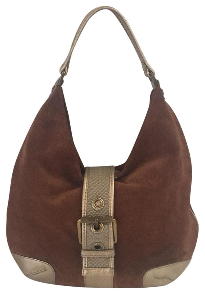 76062f3ad44bc MICHAEL Michael Kors And Soft Brown Gold Suede Leather Hobo Bag ...