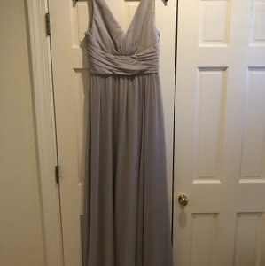 Amsale Dove Grey Chiffon Justine Bridesmaid 2017 Traditional Wedding Dress Size 8 (M)