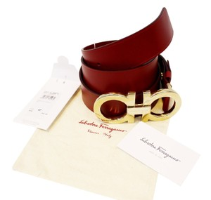 Salvatore Ferragamo Salvatore Ferragamo Rubi Calf Skin Learher Red Men's Belt Size 42
