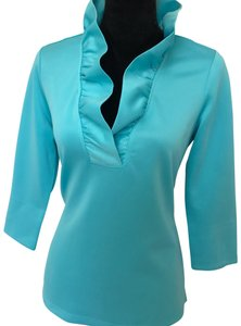 Gretchen Scott Wrinkle Free Fabric Classic Travel Ruffle Mclaughlin Top Turquise Blue