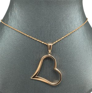Other 14K Rose Gold Open Heart Pendant and Chain