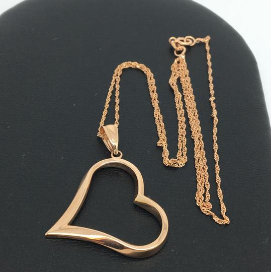 Other 14K Rose Gold Open Heart Pendant and Chain Image 1