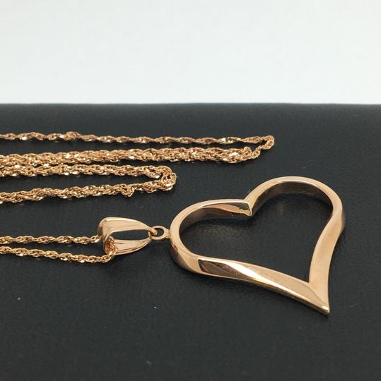 Other 14K Rose Gold Open Heart Pendant and Chain Image 2