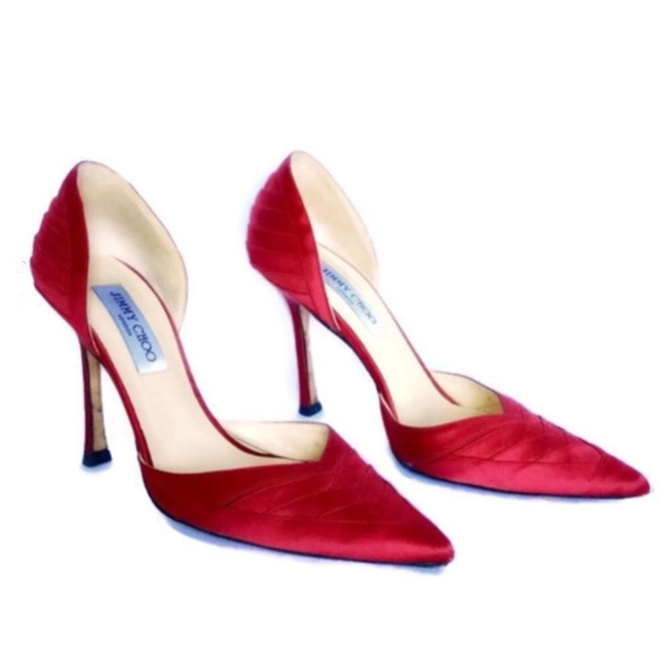 35710dd46cb9b Jimmy Choo Red Pointed Toe Satin D orsay Pumps Size EU 38 (Approx ...