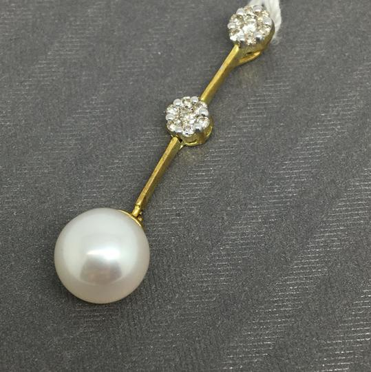 Other 14K Yellow Gold Natural Genuine Diamond and Pearl Pendant Image 1