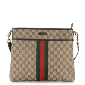 Gucci Canvas Red Beige / Red-Green Web Messenger Bag