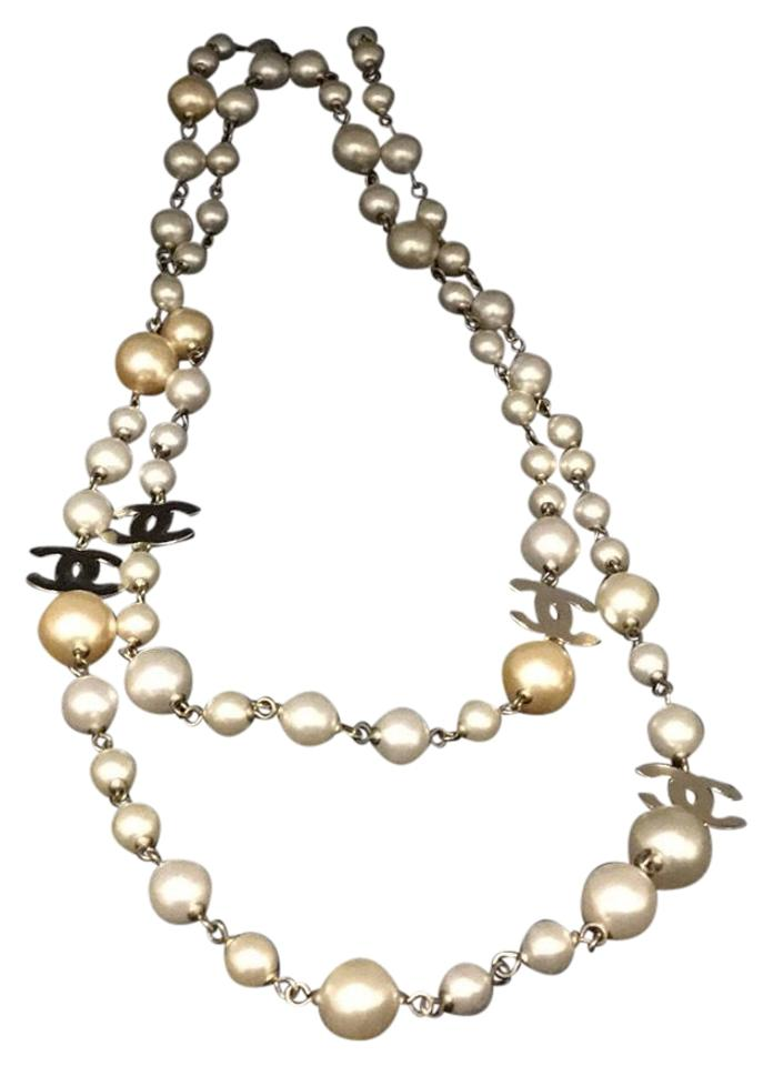 276d0ff289cae Chanel Chanel 4 double C 4 station pearl necklace ...