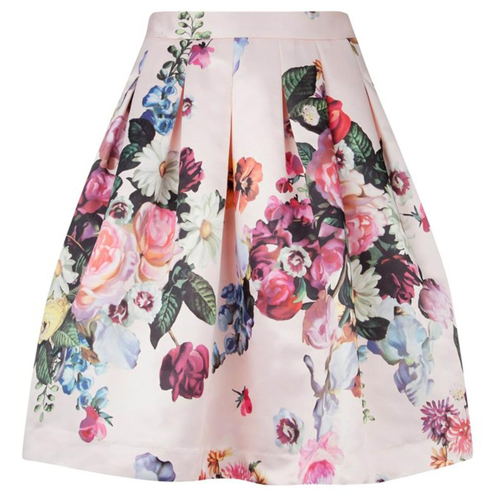 f961a861e Ted Baker Pink Flowtii Oil Painting Print Skirt Size 4 (S