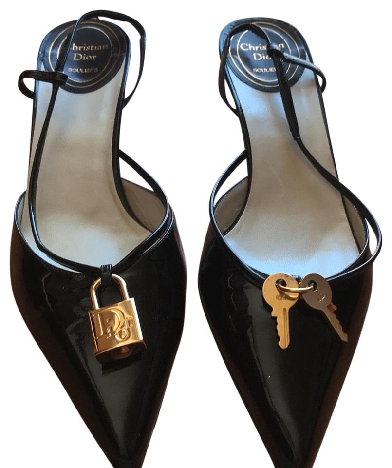 ef7b6e7226 Authentic Christian Dior Souliers. Made In Italy Patent Leather Lock & Key  black Sandals Image ...