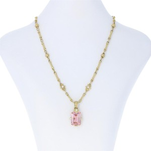 Judith Ripka Judith Ripka Pink Crystal & Diamond Pendant Necklace - 18k Yellow Gold