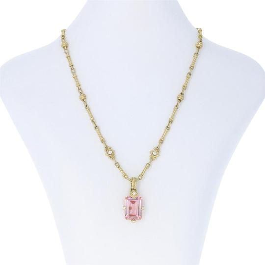 Judith Ripka Judith Ripka Pink Crystal & Diamond Pendant Necklace - 18k Yellow Gold Image 0