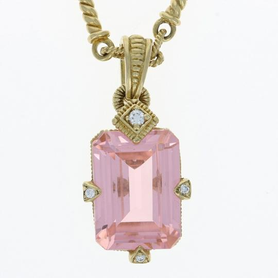 Judith Ripka Judith Ripka Pink Crystal & Diamond Pendant Necklace - 18k Yellow Gold Image 3