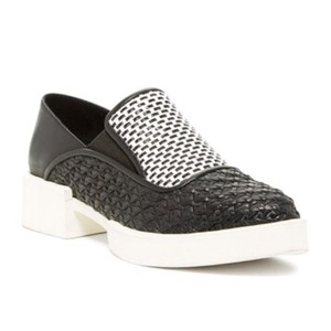 H Williams black and white Flats