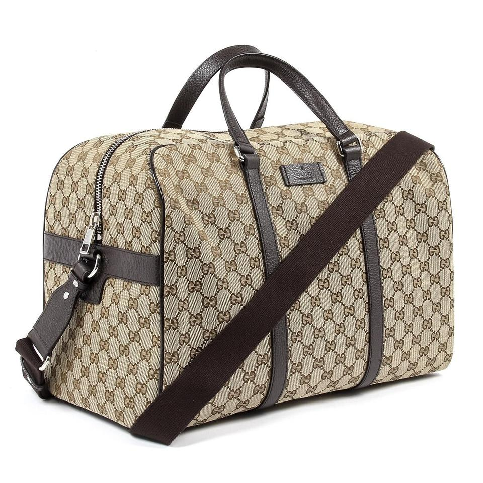 32678f3c886 Gucci Gg Carry On Duffle 449167 Beige Canvas Weekend Travel Bag ...