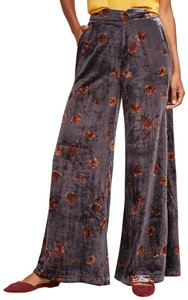 Anthropologie Wide Leg Pants New Grey Floral