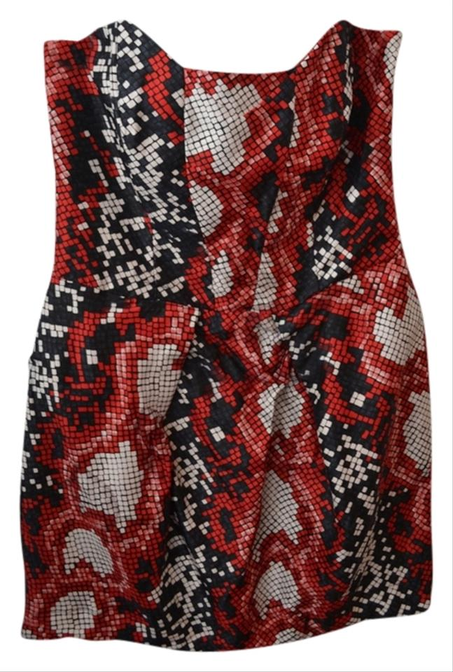 6ac0ad6e3759 Mixed Red Dark Blue/Grey and White Snake Print Party Geometric Bachelorette  Night Out Dress