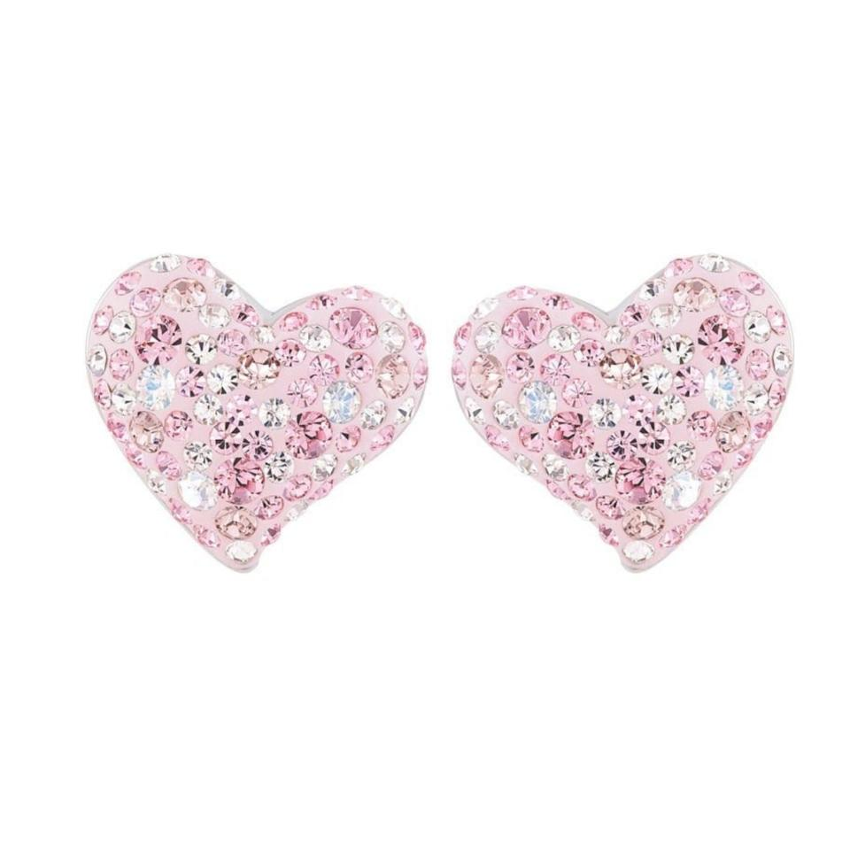 Swarovski Alana Pink Crystal Pave Heart Earrings Item 993487