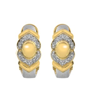 Avital & Co Jewelry 0.15 Carat Diamond Huggie Omega Clip Earrings 14K Two Tone Gold