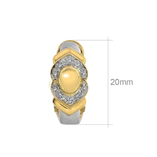 Avital & Co Jewelry 0.15 Carat Diamond Huggie Omega Clip Earrings 14K Two Tone Gold Image 2