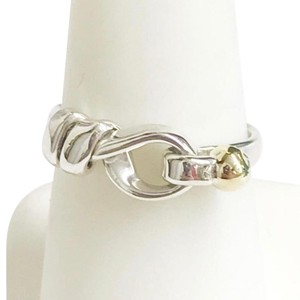 Tiffany & Co. Tiffany & Co. 18 Karat Yellow Gold and Sterling Silver Hook and Eye Ring