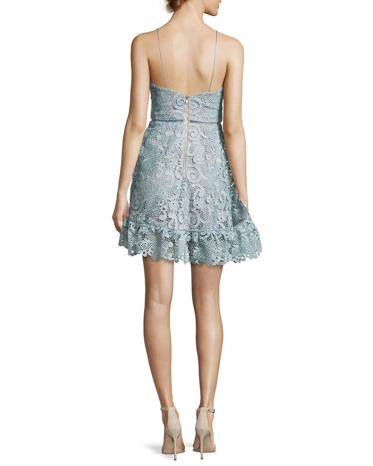 c4f0d995c2763 self-portrait Light Blue Paisley Vine Guipure Lace Mini Cocktail Dress. Size:  6 ...