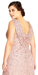 Adrianna Papell Low Back Cowl Back Sequin Neutral Dress
