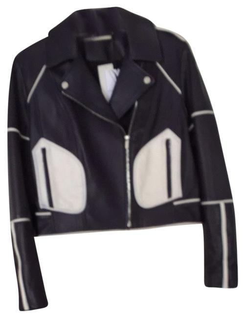 Diane von Furstenberg Navy / White Leather Jacket