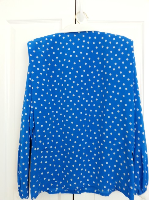 Albert Nipon Top Royal blue with white polka dots, dollar and cuffs