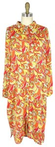 St. John short dress orange/yellow Silk Button Up on Tradesy