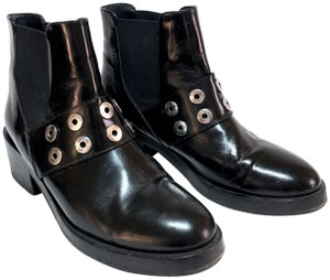 Sandro Biker Silver Studs Ankle Edgy Black Boots