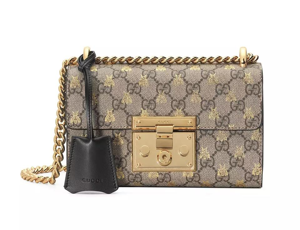 c814ef07535 Gucci Padlock New Small Gg Supreme Bees Shoulder Brown Leather Cross ...