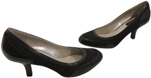 Etienne Aigner Brown suede leather manmade patent spectator style padded insoles Pumps