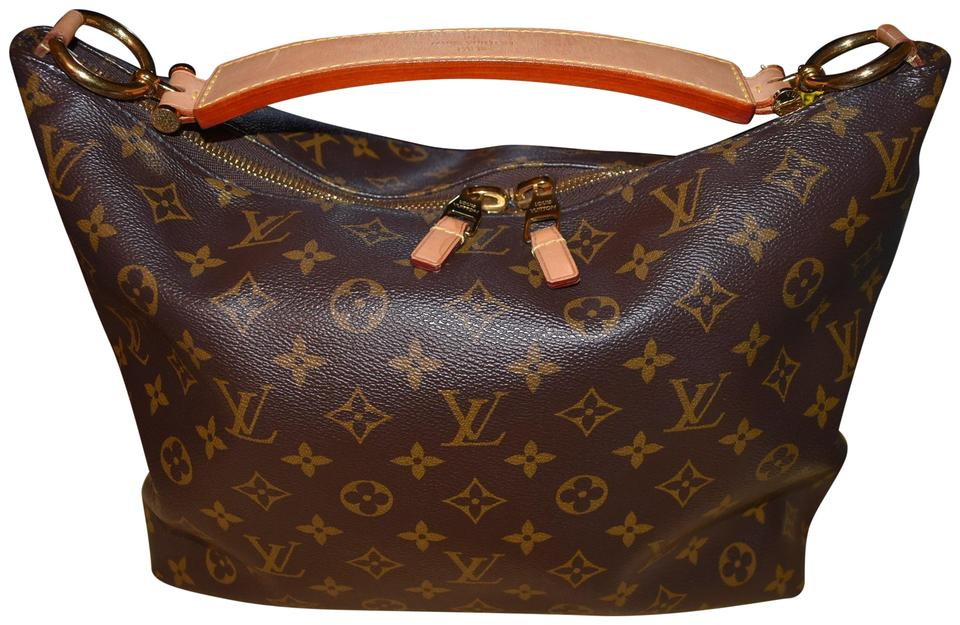 Louis Vuitton Sully Nice Discontinued Zipper Monogram Leather Hobo ... 99981d39a777a