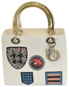Added to Shopping Bag. Dior Tote in white. Dior Lady Dior Limited Edition  Badges White Leather Tote 7698fb7107346