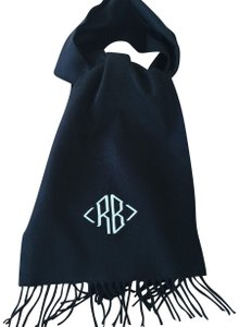 """Unwritten Black cashmere shawl with embroidered initials """"RB"""""""