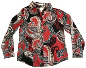 Chico's Paisley Button Front Button Down Shirt Red, Black, White