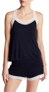 Joe Fresh Sleep Layering Lace Trim Scoop Low Back Top Blue