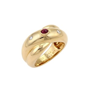 Cartier - Colisee Diamond & Ruby 18k Yellow Gold Crossover Band Ring