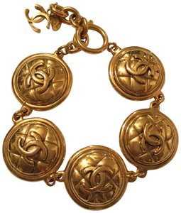Chanel CHANEL GOLD PLATED VINTAGE CC MEDALLION BRACELET