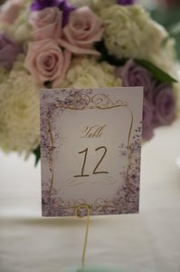 Purple Gold Table Numbers and Stands Tableware