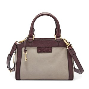 Fossil Crossbody Leather Satchel in Grey