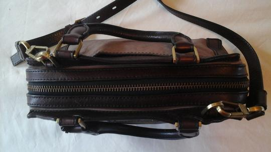 Fossil Crossbody Leather Satchel in Grey Image 10