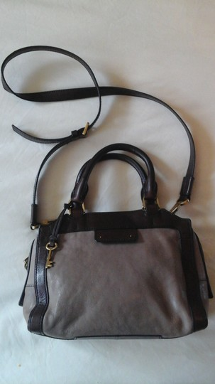 Fossil Crossbody Leather Satchel in Grey Image 3