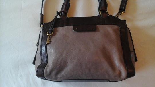 Fossil Crossbody Leather Satchel in Grey Image 5