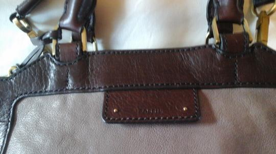 Fossil Crossbody Leather Satchel in Grey Image 6