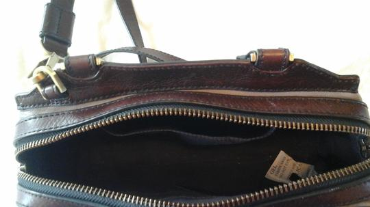 Fossil Crossbody Leather Satchel in Grey Image 8