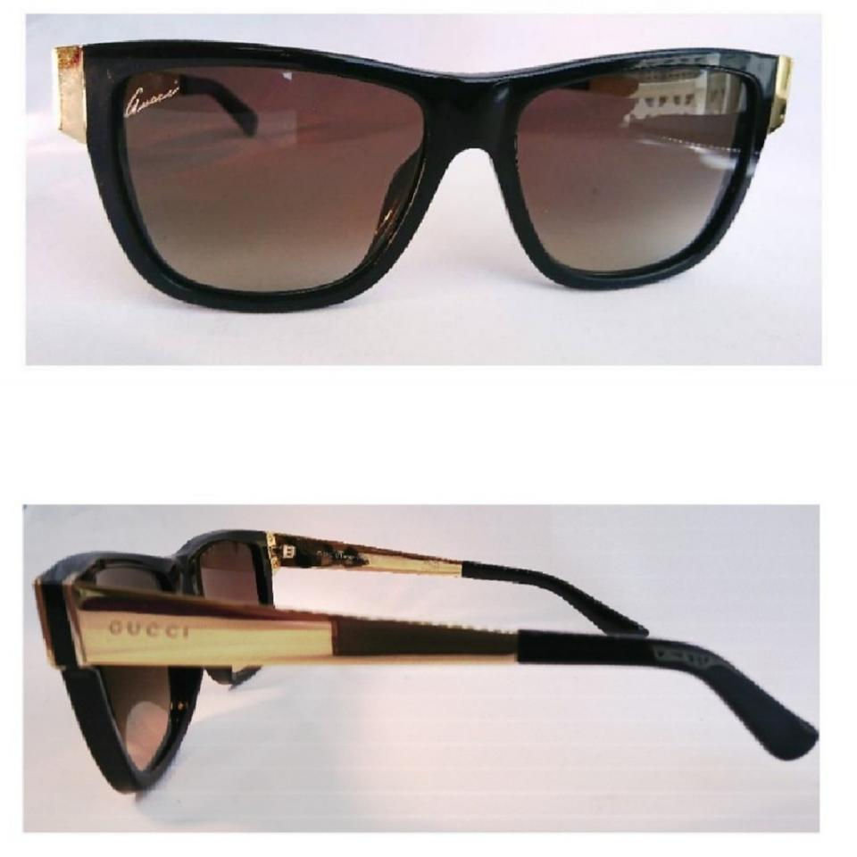 9283ccb87a Gucci Black   Gold Arm Classic Frame Women  s Sunglasses - Tradesy