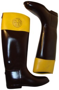 Tory Burch Dark Brown and Yellow Boots