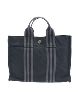 Herms Canvas Tote in Black
